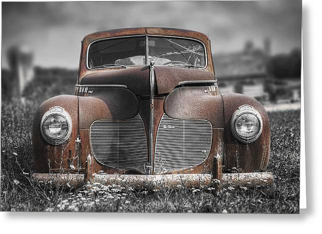 Rusted Cars Greeting Cards - 1940 DeSoto Deluxe with Spot Color Greeting Card by Scott Norris