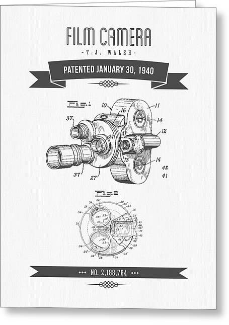Camera Greeting Cards - 1940 Film Camera Patent Drawing - Retro Gray Greeting Card by Aged Pixel