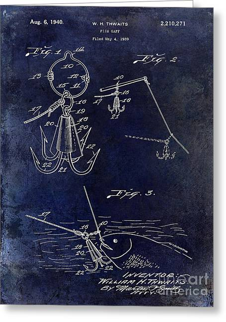 Fishing House Greeting Cards - 1940 Fishing Gaff Patent Drawing Blue Greeting Card by Jon Neidert