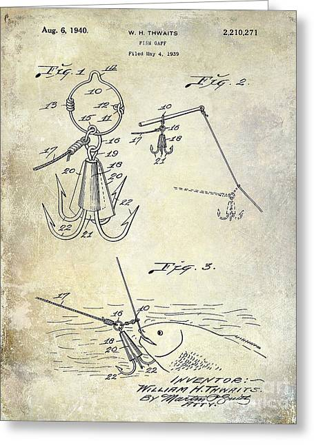 Fishing House Greeting Cards - 1940 Fishing Gaff Patent Drawing Greeting Card by Jon Neidert