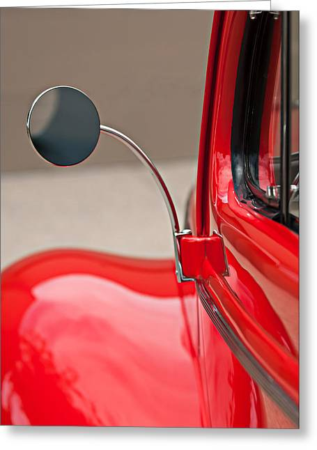 Classic Car Images Greeting Cards - 1940 Ford Deluxe Coupe Rear View Mirror Greeting Card by Jill Reger