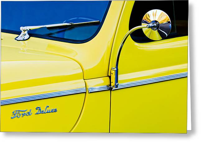 1940 Ford Greeting Cards - 1940 Ford Deluxe Side Emblem Greeting Card by Jill Reger