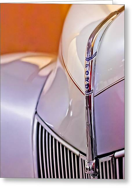 Jill Reger Photography Greeting Cards - 1940 Ford Hood Ornament Greeting Card by Jill Reger