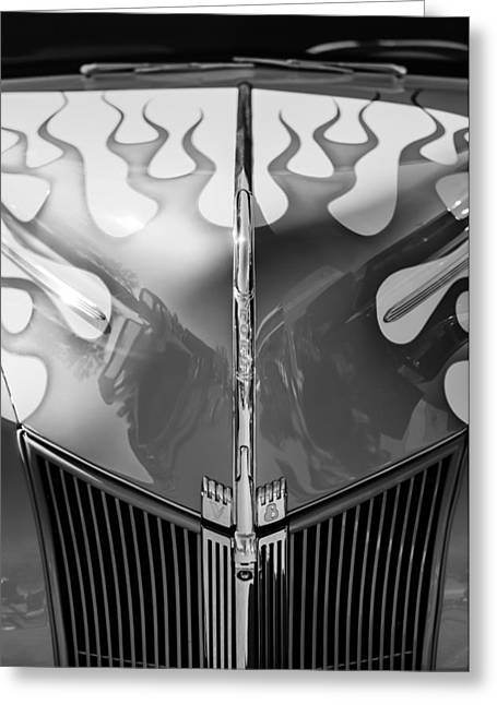 Ford Hot Rod Greeting Cards - 1940 Ford Hot Rod Flamed Hood -264bw Greeting Card by Jill Reger