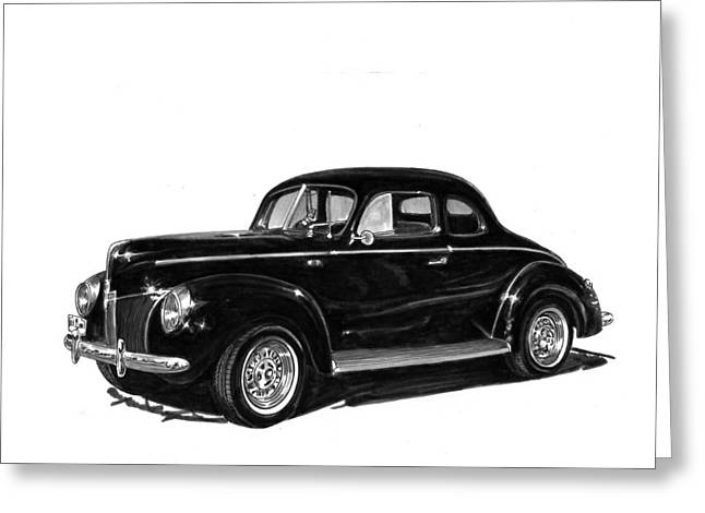 Stretching Drawings Greeting Cards - 1940 Ford Restro Rod Greeting Card by Jack Pumphrey