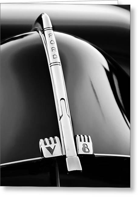 1940 Ford V8 Hood Ornament -323bw Greeting Card by Jill Reger