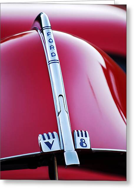 Vintage Hood Ornament Greeting Cards - 1940 Ford V8 Hood Ornament -323c Greeting Card by Jill Reger