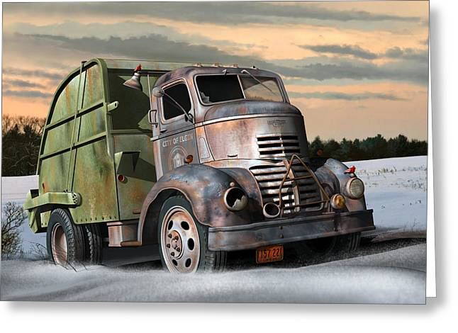 Gmc Greeting Cards - 1940 GMC Garbage Truck Greeting Card by Stuart Swartz