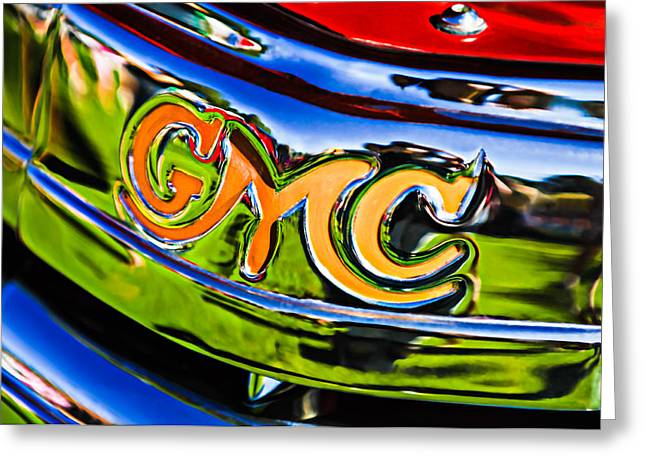 Car Photography Greeting Cards - 1940 GMC Pickup Truck Emblem Greeting Card by Jill Reger
