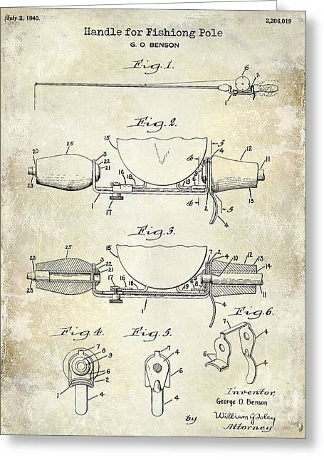 Large-mouth Bass Greeting Cards - 1940 Handle for Fishing Pole Patent Drawing Blue Greeting Card by Jon Neidert