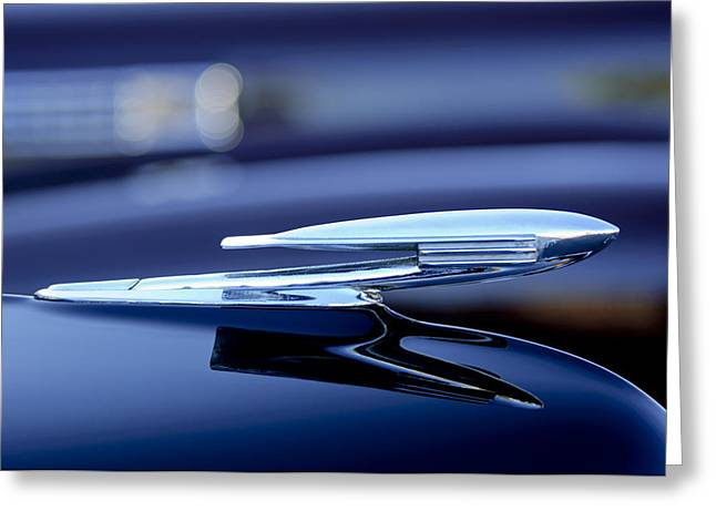 Collector Hood Ornament Greeting Cards - 1940 La Salle Hood Ornament Greeting Card by Jill Reger