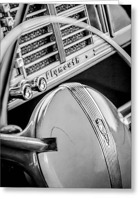 Woody Wagon Greeting Cards - 1940 Plymouth Deluxe Woody Wagon Steering Wheel Emblem -0116bw Greeting Card by Jill Reger