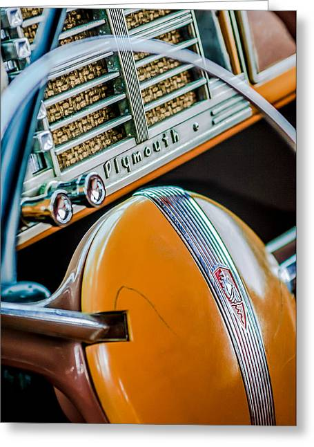 Woody Wagon Greeting Cards - 1940 Plymouth Deluxe Woody Wagon Steering Wheel Emblem -0116c Greeting Card by Jill Reger