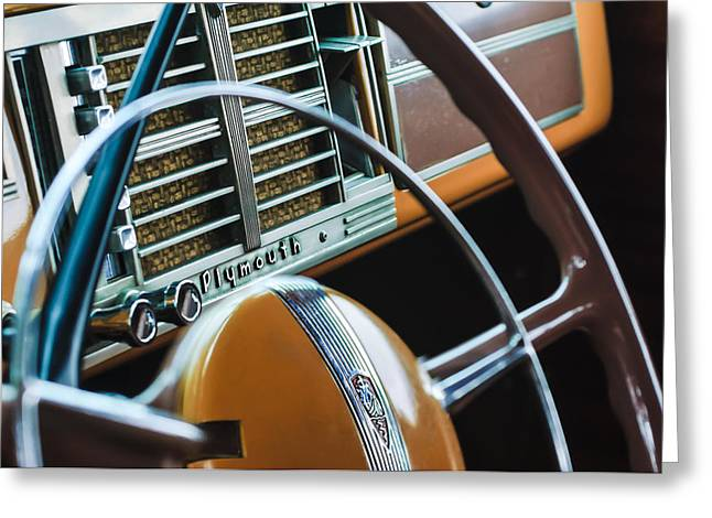Woody Wagon Greeting Cards - 1940 Plymouth Deluxe Woody Wagon Steering Wheel Greeting Card by Jill Reger