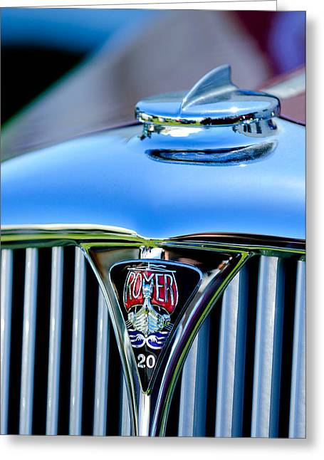 Rover Greeting Cards - 1940 Rover Twenty Grille Emblem Greeting Card by Jill Reger
