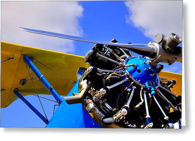 Plane Radial Engine Greeting Cards - 1940 Stearman PT-18 Kadet Greeting Card by David Patterson