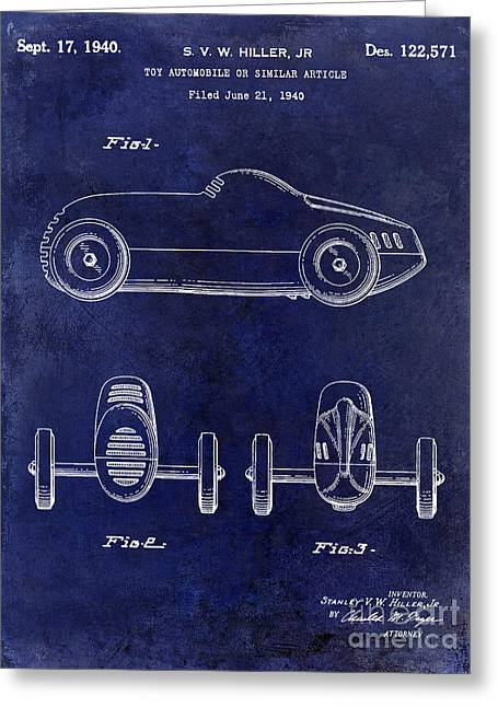 Indy 500 Greeting Cards - 1940 Toy Car Patent Drawing Blue Greeting Card by Jon Neidert