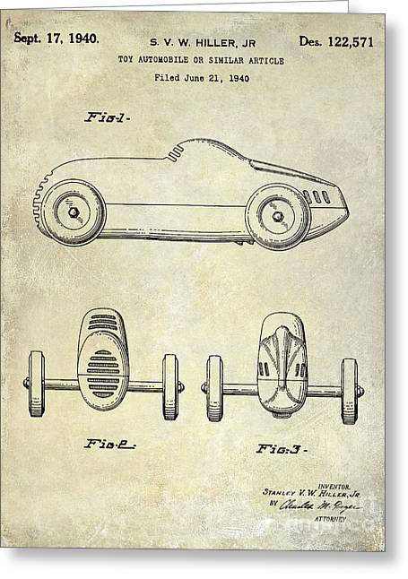 Indy 500 Greeting Cards - 1940 Toy Car Patent Drawing Greeting Card by Jon Neidert