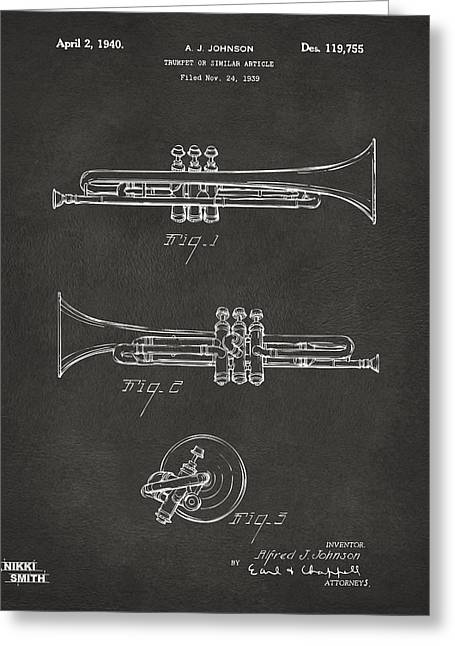 Marching Band Greeting Cards - 1940 Trumpet Patent Artwork - Gray Greeting Card by Nikki Marie Smith