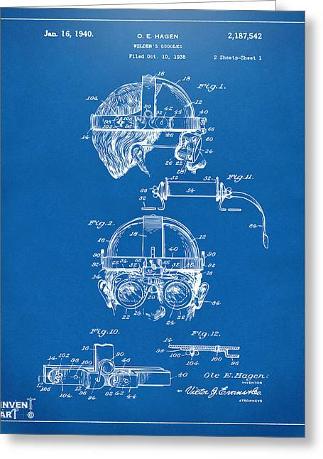 Welder Greeting Cards - 1940 Welders Goggles Patent Artwork Blueprint Greeting Card by Nikki Marie Smith
