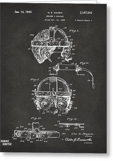 Welder Greeting Cards - 1940 Welders Goggles Patent Artwork - Gray Greeting Card by Nikki Marie Smith