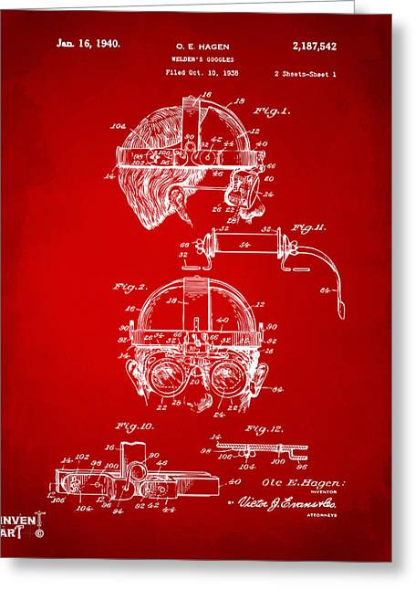 Vision Office Greeting Cards - 1940 Welders Goggles Patent Artwork Red Greeting Card by Nikki Marie Smith
