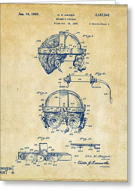 Welder Greeting Cards - 1940 Welders Goggles Patent Artwork Vintage Greeting Card by Nikki Marie Smith