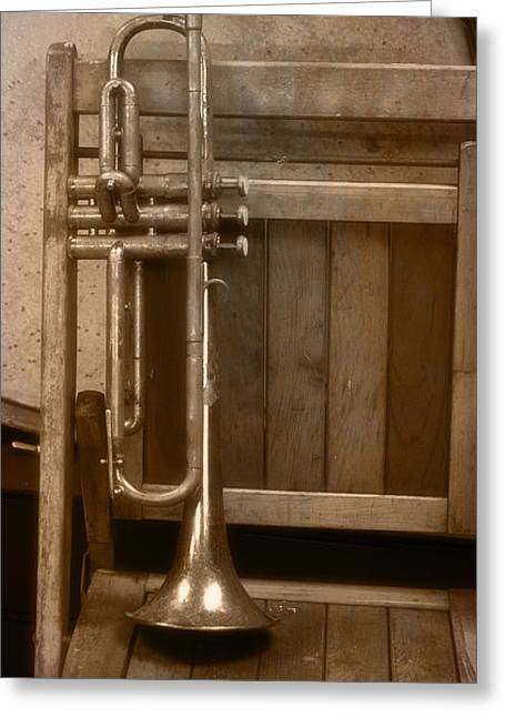 Transpose Greeting Cards - 1940ish Trumpet Greeting Card by Thomas Woolworth