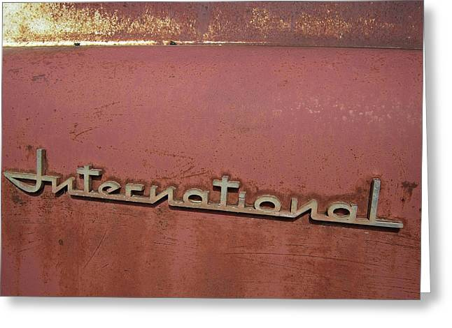 Side Panel Greeting Cards - 1940s ERA INTERNATIONAL HARVESTER TRUCK INSIGNIA Greeting Card by Daniel Hagerman