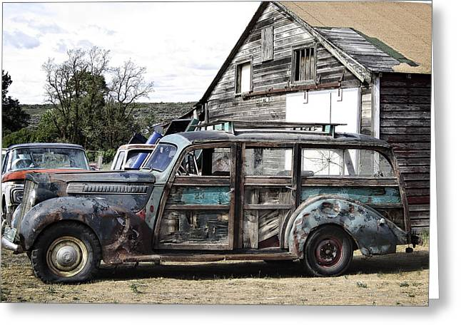 Family Car Greeting Cards - 1940s ERA PACKARD WOOD-PANEL WAGON Greeting Card by Daniel Hagerman