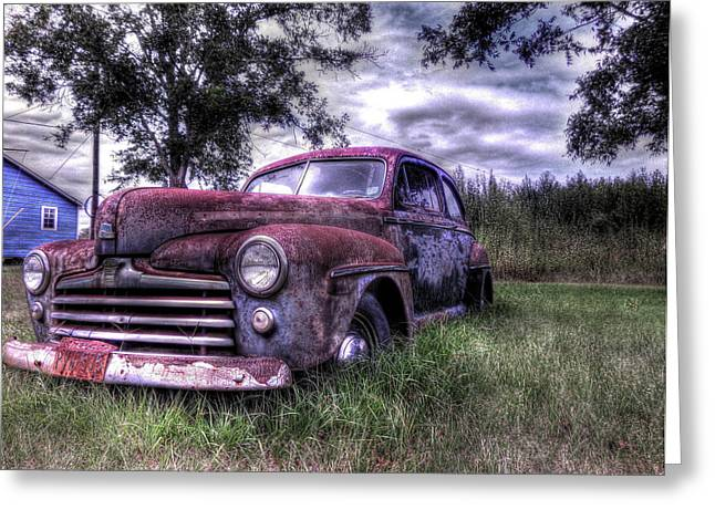Goff Greeting Cards - 1940s Ford Super Deluxe 8 Greeting Card by Micah Goff