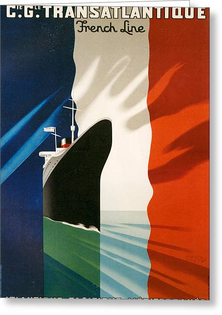1940s Poster Art Greeting Cards - 1940s France Transatlantique French Greeting Card by The Advertising Archives