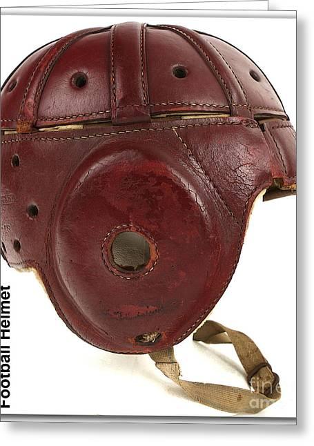 1940s Leather Football Helmet Greeting Card by Marvin Blaine