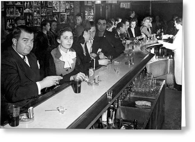 1940s Ny Bar Scene Greeting Card by Underwood Archives