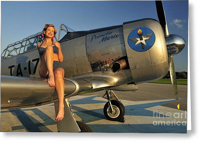 Cool Attitude Greeting Cards - 1940s Pin-up Girl Sitting On The Wing Greeting Card by Christian Kieffer