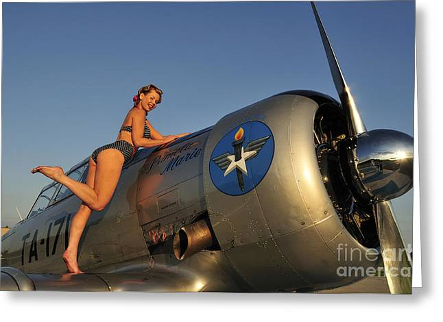 Cute Sexy Greeting Cards - 1940s Pin-up Girl Standing On The Wing Greeting Card by Christian Kieffer