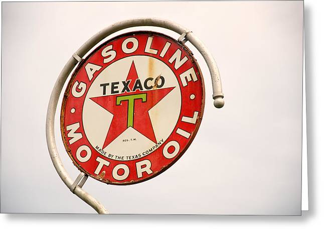 Texaco Sign Greeting Cards - 1940s Texaco Porcelain Sign Greeting Card by Chris Flees