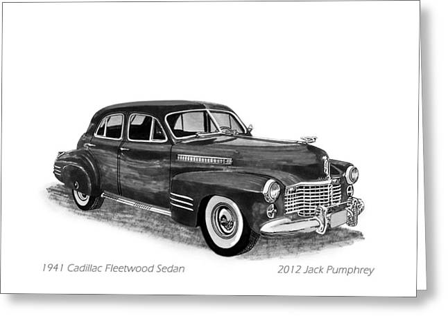 Pen And Ink Framed Prints Greeting Cards - 1941 Cadillac Fleetwood Sedan Greeting Card by Jack Pumphrey