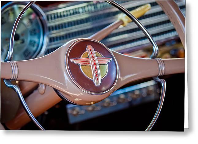 1941 Greeting Cards - 1941 Chevrolet Steering Wheel Emblem Greeting Card by Jill Reger