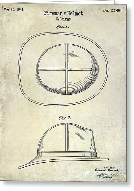 Fire Fighter Greeting Cards - 1941 Firemans Helmet Patent Drawing  Greeting Card by Jon Neidert