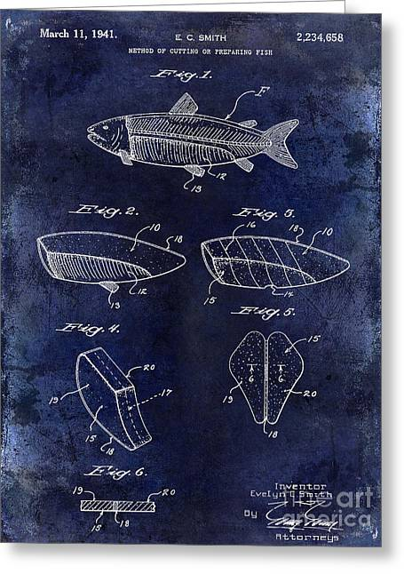 Large-mouth Bass Greeting Cards - 1941 Fish Cleaning Patent Patent Drawing Blue Greeting Card by Jon Neidert