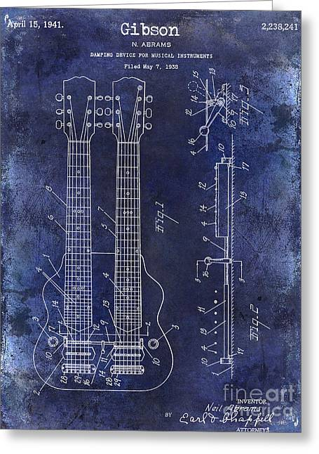 Les Paul Greeting Cards - 1941 Gibson Electric Guitar Patent Drawing Blue Greeting Card by Jon Neidert