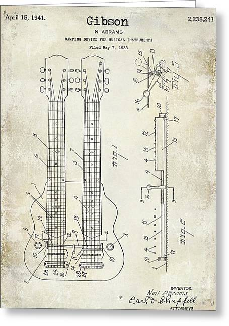 Les Paul Greeting Cards - 1941 Gibson Electric Guitar Patent Drawing Greeting Card by Jon Neidert