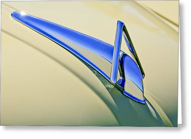 Collector Hood Ornament Greeting Cards - 1949 Hudson Super Six  Hood Ornament Greeting Card by Jill Reger