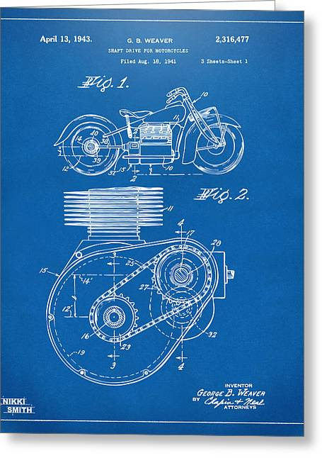 Motorcycle Digital Art Greeting Cards - 1941 Indian Motorcycle Patent Artwork - Blueprint Greeting Card by Nikki Marie Smith