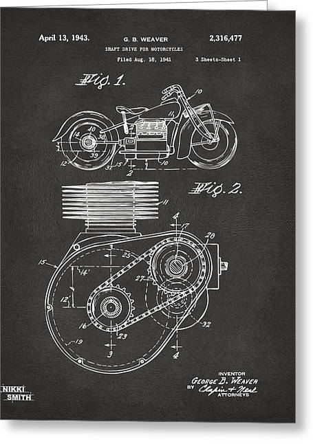 Motorcycle Digital Art Greeting Cards - 1941 Indian Motorcycle Patent Artwork - Gray Greeting Card by Nikki Marie Smith