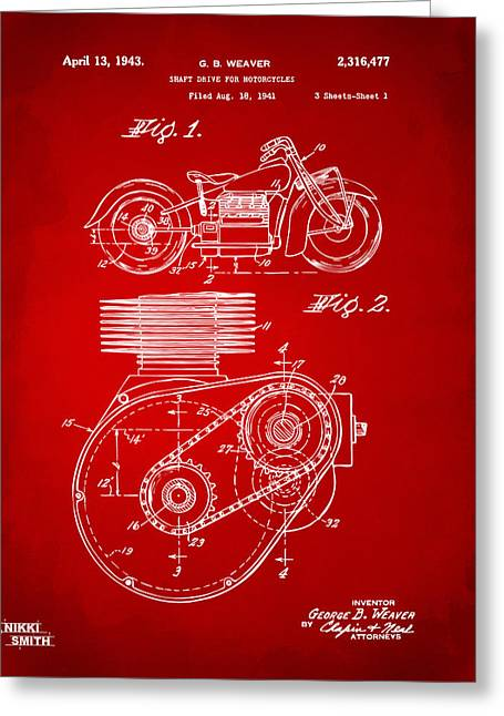Motorcycle Digital Art Greeting Cards - 1941 Indian Motorcycle Patent Artwork - Red Greeting Card by Nikki Marie Smith