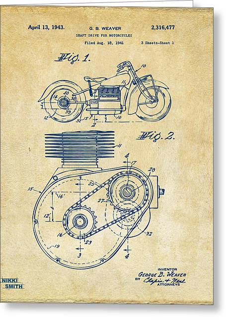 Hogs Greeting Cards - 1941 Indian Motorcycle Patent Artwork - Vintage Greeting Card by Nikki Marie Smith