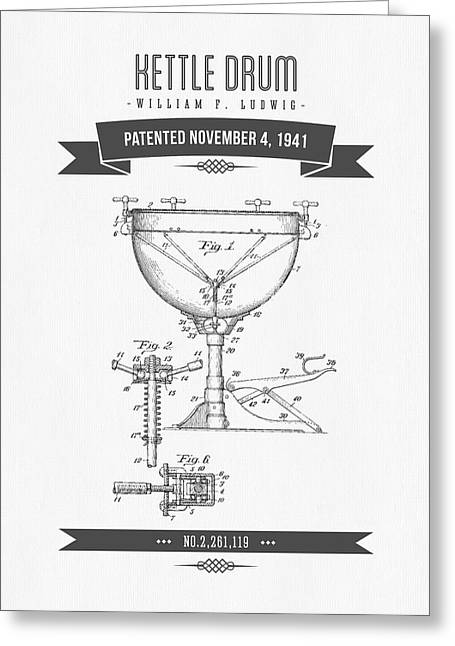 Kettle Greeting Cards - 1941 Kettle Drum Patent Drawing Greeting Card by Aged Pixel