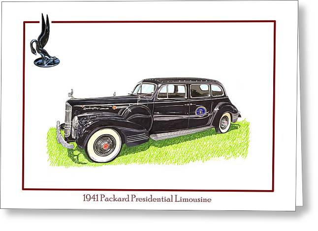 The Big Three Greeting Cards - 1941 Packard 180 presidential limousine Greeting Card by Jack Pumphrey